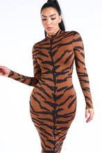 Load image into Gallery viewer, TONY TIGER MIDI DRESS
