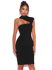 JOLENE ASYMMETRIC CUT OUT DRESS BLACK