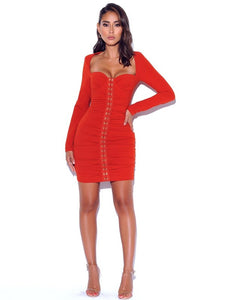 Obsessions Long Sleeve Ruched Crepe Dress