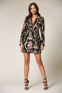 DOUBLE BREASTED JACQUARD BLAZER DRESS
