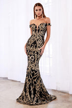 Load image into Gallery viewer, OFF THE SHOULDER SEQUIN GOWN