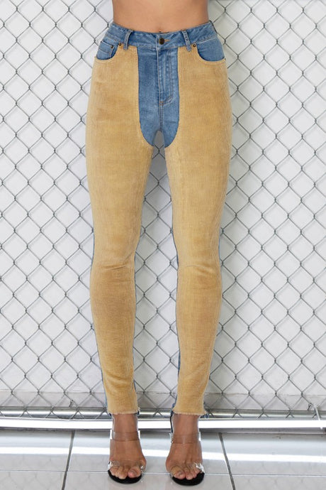 HIGH RISE CORDUROY COLOR BLOCK DENIM SKINNY JEANS