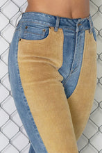 Load image into Gallery viewer, HIGH RISE CORDUROY COLOR BLOCK DENIM SKINNY JEANS