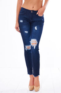 Women's Distressed Skinny Jeans (Dark Wash)