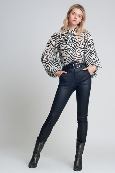 VOLUMINOUS SLEEVE ZEBRA PRINTED BLOUSE
