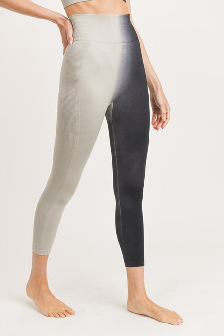 SIDE RIBBED SPLIT DYE SEAMLESS HIGHWAIST LEGGINGS