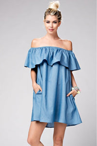KHIA OFF SHOULDER RUFFLE DENIM DRESS