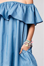 Load image into Gallery viewer, KHIA OFF SHOULDER RUFFLE DENIM DRESS