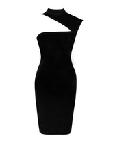 Load image into Gallery viewer, JOLENE ASYMMETRIC CUT OUT DRESS BLACK