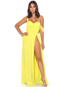YELLOW PARADISE HIGH SLIT CHIFFON MAXI DRESS