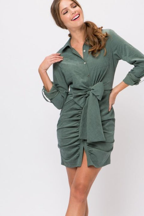 TIE FRONT RUCHED SHIRT DRESS