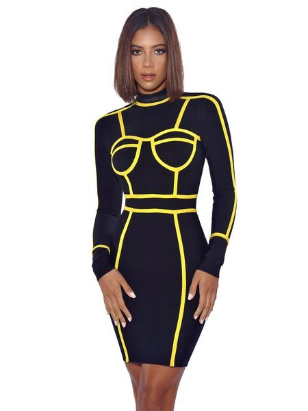 LEONA OUTLINE BANDAGE DRESS