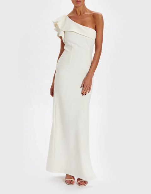 FOREVER UNIQUE DEE ONE SHOULDER RUFFLE MAXI DRESS