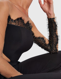 FOREVER UNIQUE ANTONIA ILLUSION LACE JUMPSUIT BLACK