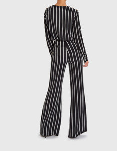 FOREVER UNIQUE CORINE STRIPED FLARED TROUSERS