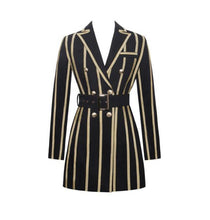 Load image into Gallery viewer, Just In Time Gold Metallic Stripe Blazer Dress With Belt