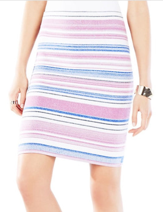 BCBG PAVEL STRIPED SWEATER SKIRT