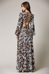 ANIMALISTIC  CUT OUT MAXI DRESS