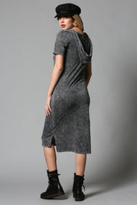 MINERAL WASHED HOODIE MIDI DRESS