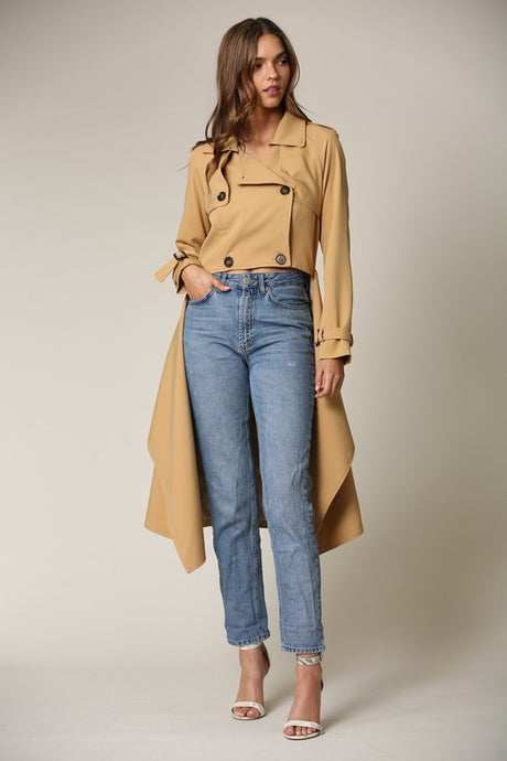 HI-LO CROPPED TRENCH COAT
