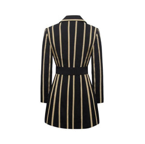 Just In Time Gold Metallic Stripe Blazer Dress With Belt