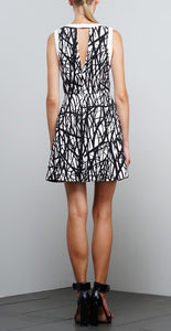 ADELYN RAE WOVEN PRINTED FIT AND FLARE DRESS