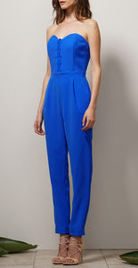 ADELYN RAE LACED UP WOVEN STRAPLESS JUMPSUIT
