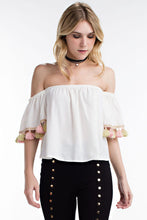 Load image into Gallery viewer, TASSEL OFF SHOULDER TOP
