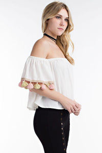 TASSEL OFF SHOULDER TOP