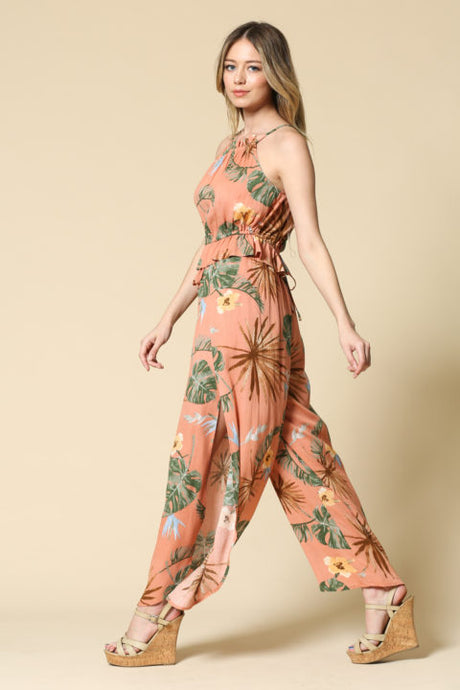 FLORAL TIE TOP AND SLIT PANT SET
