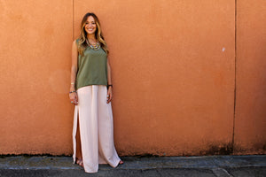 FRNCH SLIT WIDE LEG TROUSERS
