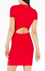 BCBG KAYLEN EMBELLISHED CUTOUT-BACK DRESS