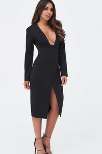 LAVISH ALICE SQUARE NECK BUTTONED WRAP MIDI DRESS