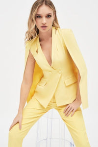 LAVISH ALICE CUT OUT SHOULDER COLLARLESS BLAZER
