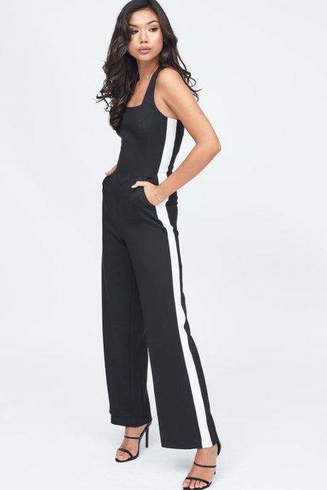 LAVISH ALICE SQUARE NECK SIDE STRIPE WIDE LEG JUMPSUIT