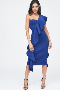 LAVISH ALICE EXAGGERATED FRILL ONE SHOULDER MIDI DRESS