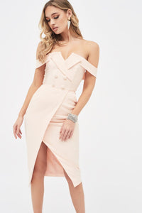 LAVISH ALICE BARDOT TUXEDO WRAP DRESS