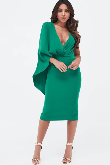 LAVISH ALICE ONE SHOULDER CAPE MIDI DRESS