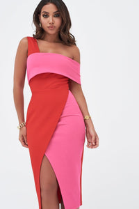 LAVISH ALICE PONTE ONE SIDE BANDEAU WRAP MIDI DRESS