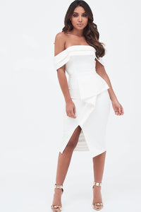 LAVISH ALICE DOUBLE LAYER BARDOT MIDI DRESS