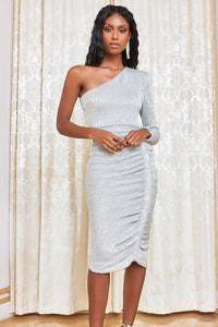 LAVISH ALICE POWER SHOULDER PLEATED SEQUIN MIDI DRESS