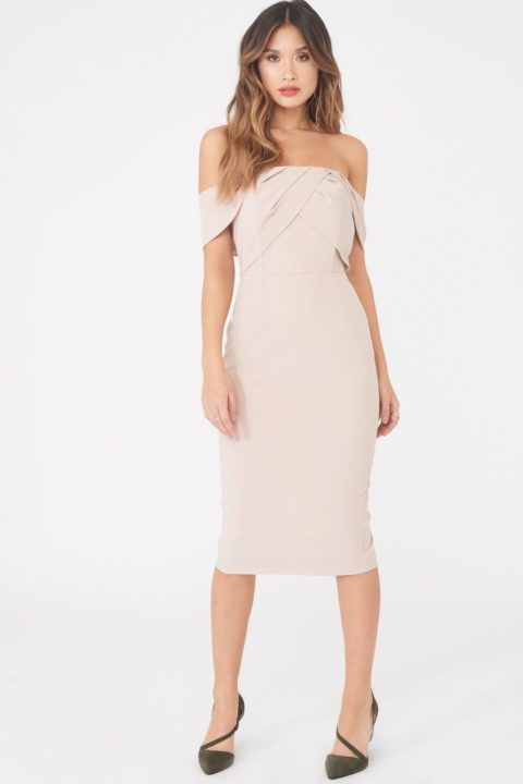 LAVISH ALICE BARDOT PLEATED MIDI DRESS