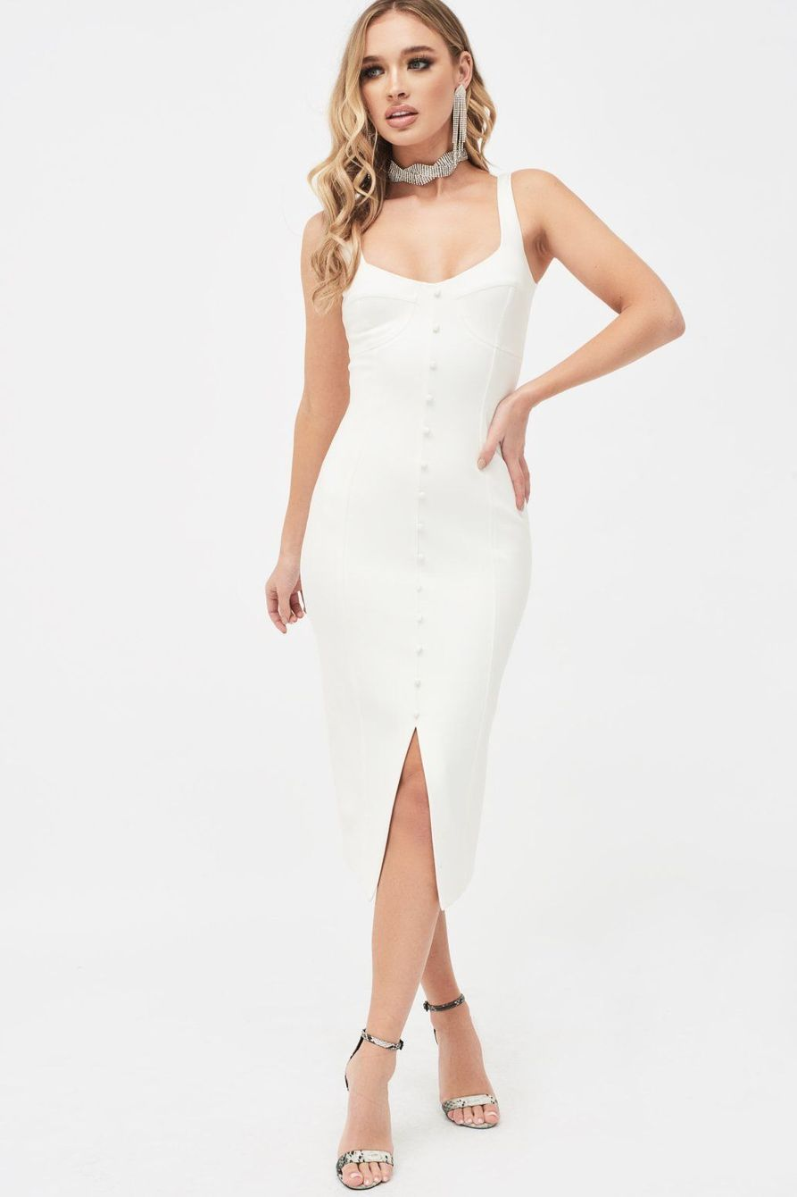 LAVISH ALICE CORSET DETAIL MIDI DRESS