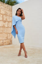 Load image into Gallery viewer, LAVISH ALICE ONE SHOULDER CAPE MIDI DRESS IN CORNFLOWER BLUE