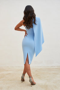LAVISH ALICE ONE SHOULDER CAPE MIDI DRESS IN CORNFLOWER BLUE
