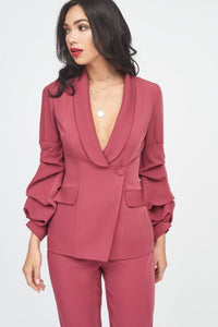 LAVISH ALICE GATHERED SLEEVE BLAZER JACKET