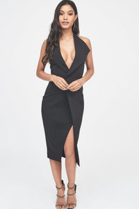 LAVISH ALICE HALTERNECK LAPEL MIDI DRESS