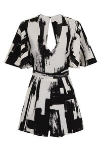 LAVISH ALICE MONOCHROME BRUSH PRINT ROMPER
