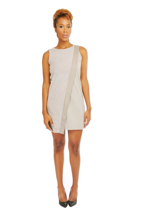MY TRIBE MOCK WRAP SUEDE DRESS