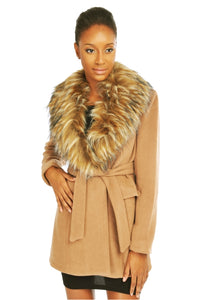 MY TRIBE FAUX FUR COLLAR COAT